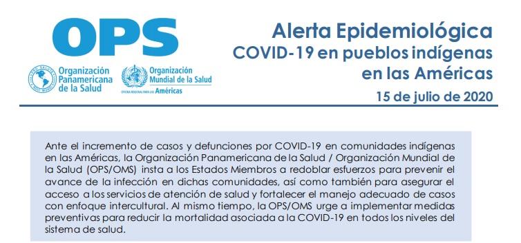 La COVID19 entre los pueblos indígenas